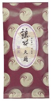 鶴粋銘茶シリーズの上級釜茶、釜茶天飛の茶袋外観です