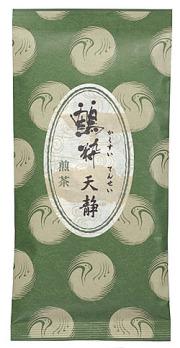 鶴粋銘茶シリーズ、深蒸し煎茶天静の茶袋外観です